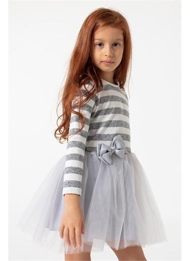 Colorinas Colorinas Pretty Çizgili  Kız Çocuk Elbise Gri